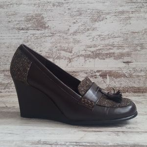 🔵Like New Aerosoles Tweed Dark Brown Wedge